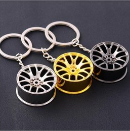 Wholesale Wholesale Tin Model Cars - Wheel Rim Model Keychain Sleutelhanger Round 14K Gold Plated Trendy Keyrings Carabiner Car Keychain with Zinc Alloy