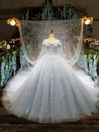 Wholesale Photo Print Sleeves - 2017 New Arrival Vintage Arabic Wedding Dresses Blue Cape Ball Luxury Beadings Off the Shoulder Court Train Bridal Gowns Custom Made