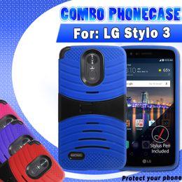 Hybrid-roboter combo telefon fall online-Stoßfest für lg stylo 3 ls777 silikon + pc 2 in 1 welle ständer hybrid roboter combo telefon case