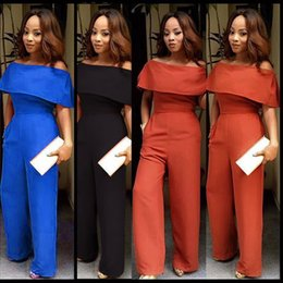 Wholesale Sexy Pant Cheap - New Fashion Sexy Plus Size Women's Loose Red Long Jumpsuits Rompers JointTrousers Pants Girl Party Work Dresses HOT Sale Formal Cheap Price