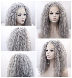 Wholesale long gray wigs for women - New Sexy Style Gray curly long wigs for black women heat resistant synthetic lace front wigs with baby hair fast shipping high quality