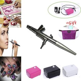 Wholesale Tattoos Paint Guns - Body Painting Airbrush Makeup Air brush COMPRESSOR KIT for Cake Tattoo Nail Art Free gift Free shipping