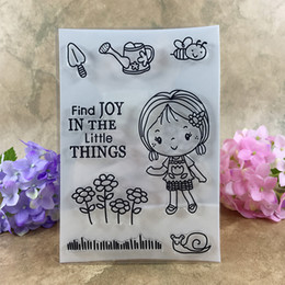 Wholesale Girl Scrapbooks - Wholesale- Girl Find Joy In the Little Things For Scrapbook DIY photo cards account rubber stamp clear stamp transparent stamp 11*16CM