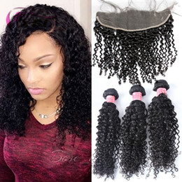 Wholesale Hair Virgin Brazilian For Pieces - xblhair curly hair bundles human hair extensions virgin brazilian human hair weft  top lace closure lace frontal for one set