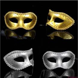 Wholesale Masquerade Ball Masks Sticks - Half face Plastic Mask Venetian masquerade music ball mask on stick Mardi Gras Costume eyemask printing Halloween Carnival party Mask