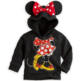 Wholesale Cute Minnie Mouse Costume - Wholesale- Cute Kids Boys Girls Hoodie Pullover Coat Minnie Mouse Sweatshirts 3D Costume 2-3Year