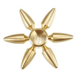 Wholesale bullet brass - Bullet Bowling Ball Hexagon Fidget Hand Spinner With Six Arm Torqbar Brass Puzzle Finger Toy EDC Fidget Handspinner #4347