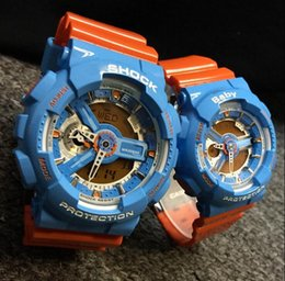 Wholesale Pins Baby - New Color G Sports Couples Watches Denim Blue Military S Shock Ga110 100 Lovers watch baby-g women wacthes Heart Box