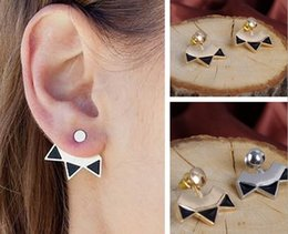 Wholesale Vintage Pin Back - Vintage Jewelry Womens Silver Gold Plated Geometric Back Hanging Stud Wraps Earrings Ear Studs Ear Pins Casual Party