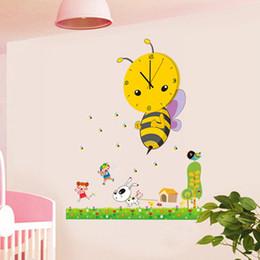 Gros-3D DIY Wall Clock Design moderne abeille Sticker / horloges avec décoration de papier peint pour salon chambre décor à la maison ? partir de fabricateur