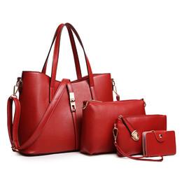 Wholesale Large Metallic Gold Handbag - 4pcs Sets Hot Sale Polyester New European And American Designer Brand Women Shoulder Bag Handbag Large + Crossbody Clutch