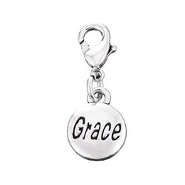 Wholesale Letter Rings For Women - Free shippping Grace Letter Round Keying for bag Key Rings Silver Plated Tone Charm Kaychain Fashion Accessories For Women 10PCS Lot