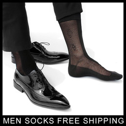 Wholesale Thin Socks For Men - Formal Dress suit silk socks for leather shoes Mens sexy socks thin Sheer gay sock fetish collection hose stockings