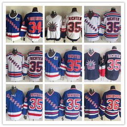 Wholesale Richter Rangers Jersey - Stitched NHL NY RANGERS 34 VANBIESBROUCK 35 RICHTER 36 ANDERSON White Blue Throwback Hockey Jerseys Ice Jersey Mix Order