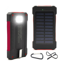 Wholesale Camping Charger - Waterproof solar power bank 10000mah universal battery charger with LED flashlight with compass for outdoor camping