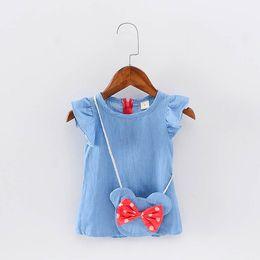 Wholesale Girls Bag Bow - 2017 designer girls dresses lotus leaf sleeve and bowtie dresses round neck one-piece dress with cute waist bag 4pcs lot