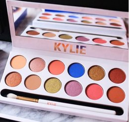 Wholesale 12 Colors Pallete - Newest Kylie Jenner Royal Peach Pallete 12 Colors Eye Shadow Palette with Brush Cosmetics Free Shipping