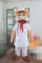 Wholesale cow cartoon costume - Cow Chef Cartoon Adult Size Mascot Costume Fancy Birthday Party Dress Halloween Carnivals Costumes With High Quality Free Shipping