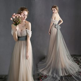 Wholesale Cheap Couture Gowns - Sexy Off the Shoulder Sash Beach Wedding Dresses Vintage 2017 New Arrival Tulle A-line Couture Custom Made Bridal Gowns Cheap Wedding Gowns