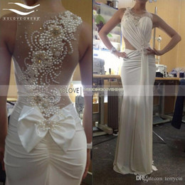 Wholesale Spandex Beaded Evening Gowns - 2017 Exquisite Vestido de festa Jewel Chiffon or Spandex Mermaid Prom Dresses with Pearls and Bow Homingcoming Evening Gown sl-E99
