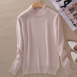 Wholesale Half Sweaters Sale - Wholesale-016 Hot Sales New female half high round neck Cashmere Blending Sweaters Slim Sweater knit bottoming Wool Sweater Free Shipping