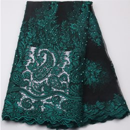 Wholesale Embroidered Cotton Voile Fabric - Dark Green Nigerian french net lace tulle embroidered swiss voile african lace fabrics with stones beads 5yards lot NA539B-2