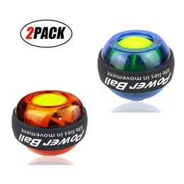 Wholesale Lcd Light Balls - 2 PCS(Orange and Blue) of Wrist Trainer LED Gyroball Wrist Exerciser Ball Featuring Digital LCD Counter and LED Light