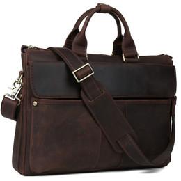 Wholesale Limited Edition Cell Phones - Wholesale- TIDING Genuine leather handbag vintage fashion briefcase for men dark brown laptop bag limited edition 1096