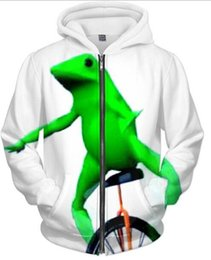 Лягушка-балахон онлайн-Wholesale- Women/Men Casul Dat Boi Coat Hoodies Green frog Pullover Tops Coat Spring Autumn White Zip-ZUP Sweatshirt Crewneck