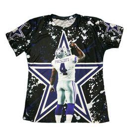 Wholesale Wholesale El Shirts - Wholesale- New Arrivals 3D Printed T-shirts Rookie Quarteback Dak Prescott Graphic Summer Tops Short Sleeve Casual Tees For Dallas Fans