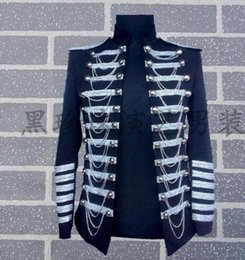 Wholesale Tassel Short Costumes - Stand collar men suits designs masculino homme terno stage costumes for singers men blazer dance clothes jacket style