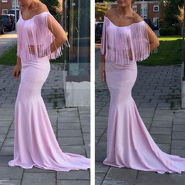 Wholesale Tassels Off Shoulder Dress - 2017 New Pink Mermaid Chiffon Off The Shoulder Evening Dress With Tassels Cap Sleeve Sweep Train Prom Dresses Vestido De Festa Curto