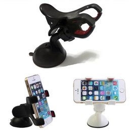 Wholesale Clip Hot Mobile - Wholesale-Newest Hot 360 Degrees Car Mobile Phone Holder Dashboard Mobile Mount Car Kit Double Clips Holder GPS Car Mount 100pcs