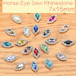 Wholesale Garment Shoes - 50pcs lot Horse Eye Glass Crystal Sew On Rhinestones With Claw DIY Garment Shoes Crystal Buckle 7x15mm