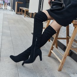 90faba015e6 2017 Women Over The Knee Boots Sexy nubuck leather Square High Heel Women  Shoes Winter Warm Motorcycle Boots Size 34-43