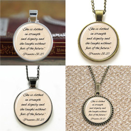 Wholesale Glasses Clothes - 10pcs Proverbs necklace She is clothed in strength and dignity Necklace keyring bookmark cufflink earring bracelet