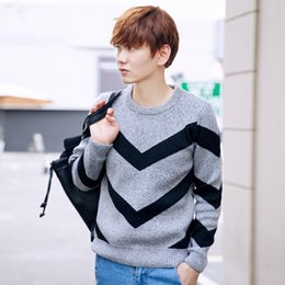 Wholesale Round Thick Necklace - Men's round necklace color sweater fashion warm thick youth casual sweater