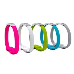 Wholesale new wrist mobile phone - 50pcs New Design Fast Charging 22cm Portable Noodle Usb Charger Cable Sync Data Bracelet Wrist Band Charger Cable Adaptor For Mobile Phone