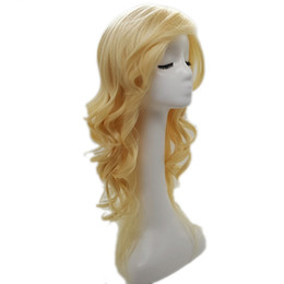 Wholesale Blonde Lolita - XT697 Lolita Style Wig Synthetic Hair Long Curled Wig Natural Golden 24 inch Wig High Heat Fiber Wigs