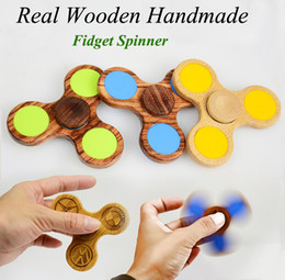 Wholesale Wholesale Wooden Spinning Top - New 100% Wooden Handmade Fidget Spinner Hand Spinners Top Quality Wood Triangle Finger Spinning Decompression Fingers Tip Tops Toys