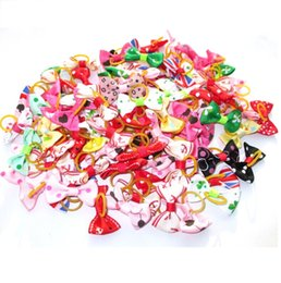 Wholesale Halloween Hair Bow Ribbon - Handmade Pets Grooming dog hair Accessories 300Pcs lot Mixed Ribbon pet Hair Bow Dog Rubber Bands Hair Bows, Dogs Hairs Ornaments 2170