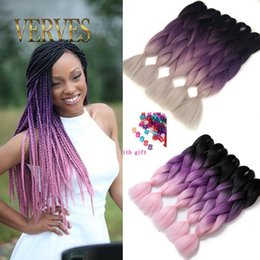 Wholesale Three Toned Ombre Hair - VERVE three tone ombre purple braiding hair beautiful expression braiding hair 100g pce ombre jumbo braid synthetic hair extensions