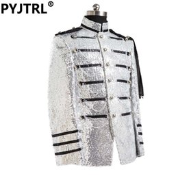Wholesale Silver Shiny Suit - Wholesale- (Jacket + Pants) Mens Silver Sequined Royal Court Male Singers Dress Shiny Slim Fit Suits Custom Made Suit