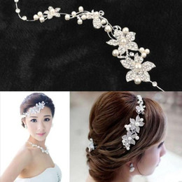 Wholesale hair headband crown - Fashion Wedding Bridal Headpiece Hair Accessories with Pearl Bridal Crowns and Tiaras Head Jewelry Rhinestone Bridal Tiara Headband Noiva