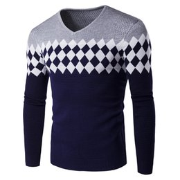 Wholesale Casual Sweaters Wholesale - Wholesale- 2017 New Autumn Fashion Brand Casual sweater V-neck Slim knit Men's Popular sweater and pullover Men's Splice Diamond lattice