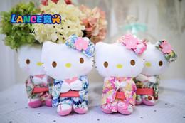 Wholesale Sakura Plush - 20CM New Cute Hello Kitty Stuffed Plush Toys Sakura Cat animal Plush Doll KT Cat With kimono Keychain