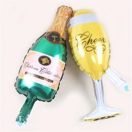 Wholesale Decorative Bottles For Gifts - Huge Aluminum Foil Champagne Bottle And Goblet Helium Balloons For Birthday Wedding Party Decoration Balloon XAMS Gift