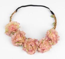 Wholesale Headband Bridesmaids - Travel Beach Flower crown Colorful Wedding Garlands Bridesmaid Bridal Headband Bohemia Head Flower Girl Hair Accessory