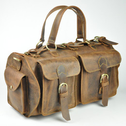 Wholesale Vintage Leather Duffle - Wholesale-vintage Men's genuine Leather bag Brand NEW arrival Travel bag big luggage & duffle bags men high quality leather travels Large