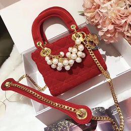 Wholesale Velvet Evening Bags - velvet bag luxury brand women evening party bags classic lady bag with Beads famous brand chain crossbody shoulder bags wedding handbags